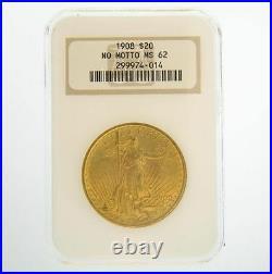 1908 $20 MS-62 No Motto NGC Gold Double Eagle Saint Gaudens Coin