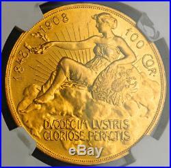 1908, Austria, Francis Joseph I. Gold 100 Corona Lady in the Clouds. NGC AU58