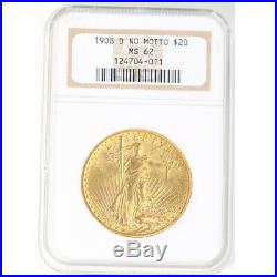 1908 D No Motto $20 St. Gaudens Double Eagle Gold Coin NGC MS 62