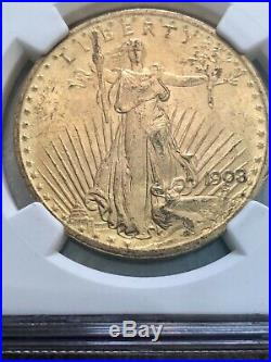 1908 NO MOTTO St. Gaudens $20 Double Eagle Gold Coin NGC MS-63