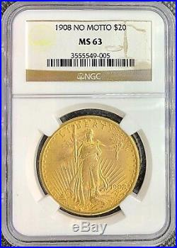 1908 No Motto $20 American Gold Double Eagle Saint Gaudens MS63 NGC MINT Coin