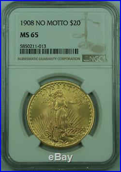 1908 No Motto St. Gaudens $20 Double Eagle Gold Coin NGC MS-65 Gem BU
