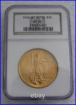 1908 USA 20 Gold Dollars Coin, Saint- Gaudens, No Motto Ngc Ms64