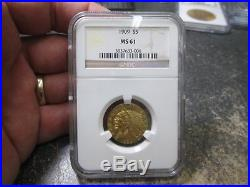 1909 5 Dollar Indian Gold Coin In Ngc Ms61 Uncirculated Condition