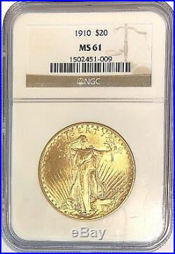 1910 $20 American Gold Eagle MS61 NGC St. Gaudens Coin $1610 NGC Price! Sale