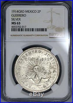 1914 NGC MS 63 Guerrero Silver Gold 2 Pesos Mexico Revolution Coin (18062001C)
