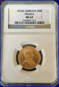 1914a Ngc Ms 64 Gold 20 Mark German State Prussia Kaiser Wilhelm II