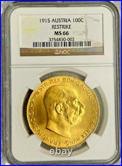 1915 Austria 100 Corona Restrike Gold Coin NGC MS 66