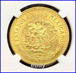 1917 Gold 20 Pesos Mexico Viente Pesos NGC MS62 Aztec Calendar Coin KEY DATE