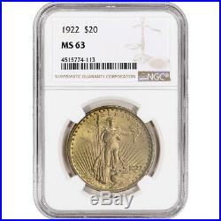 1922 US Gold $20 Saint-Gaudens Double Eagle NGC MS63