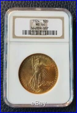 1924 $20 Saint Gaudens Gold Double Eagle NGC MS64. What a coin