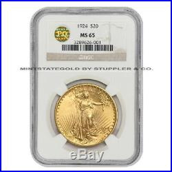 1924 $20 Saint Gaudens NGC MS65 PQ Approved Gold Double Eagle Gem coin