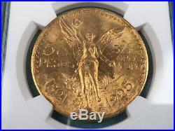 1925 Mexico 50 Peso Gold Centenario Coin MS62+ NGC KM-481
