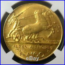 1927 R Gold Albania 100 Franga Ari Ngc Mint State 62 No Star Below Bust