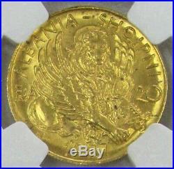 1927 V Gold Albania 20 Franga Lion Of St. Mark Coin Ngc Mint State 64+