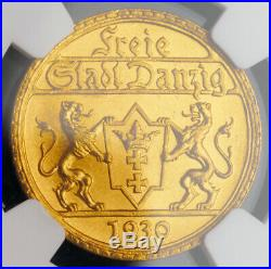 1930, Germany/Poland, Danzig (Free City). Scarce Gold 25 Gulden Coin. NGC MS-64
