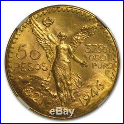 1946 Mexico Gold 50 Pesos MS-64 NGC SKU #86884