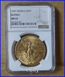 1947 Mexico 50 Peso GOLD Centenario NGC MS 66 Near Perfect GEM UNC