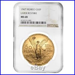 1947 Mexico 50 Pesos Gold Coin NGC MS 68