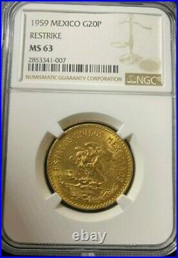 1959 MS63 Mexico 20 Pesos Gold Coin