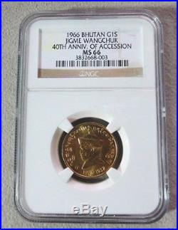1966 Gold Bhutan Sertum Jigme Wangchuk Coin Ngc Mint State 66 Only 2,300 Minted