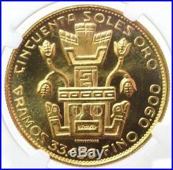 1968 Gold Peru 300 Minted 50 Soles Coin Ngc Mint State 63 Inca Indian Chief