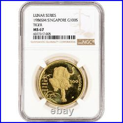 1986 SM Singapore Gold 1 oz 100 Singold Lunar Year of the Tiger NGC MS67