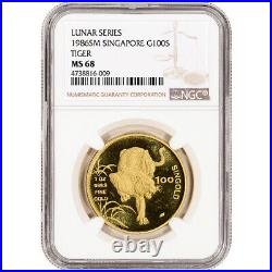 1986 SM Singapore Gold 1 oz 100 Singold Lunar Year of the Tiger NGC MS68