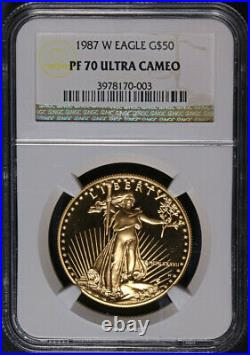 1987-W Gold American Eagle $50 NGC PF70 Ultra Cameo Brown Label