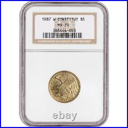 1987-W US Gold $5 Constitution Commemorative BU NGC MS70