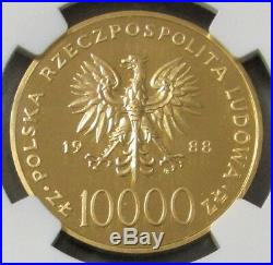 1988 Gold Poland 1000 Minted 10,000 Zoltych Ngc Proof 69 Uc Saint John Paul II