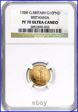 1988 Great Britain 1/10 oz 10 PND Proof Gold Britannia PF-70 NGC