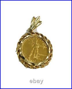 1988 Lady Liberty 5 Dollar 1/10 OZ. 999 Fine Gold Coin Bullion Charm Pendant