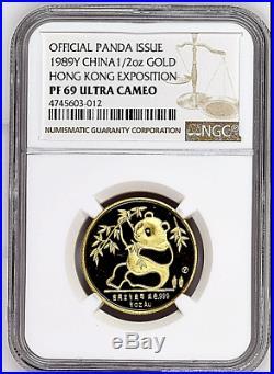 1989Y China 1/2 Troy oz. Hong Kong Expo Gold Panda Coin NGC/NCS PF69 Ultra Cameo