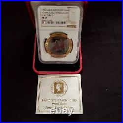 1990 ISLE OF MAN GOLD 1oz CROWN PENNY BLACK ANNIVERSARY NGC PROOF 69 ULTRA CAMEO