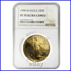 1990 W 1 oz $50 Proof Gold American Eagle NGC PF 70 UCAM