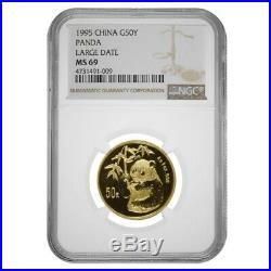 1995 1/2 oz Chinese Gold Panda 50 Yuan Large Date NGC MS 69