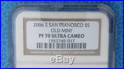 2006 S NGC PF 70 Ultra Cameo Old Mint GOLD $5 Coin, Proof U-Cam $5 Gold Coin