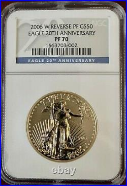2006 W 1 oz Reverse Proof Gold American Eagle $50 20th Anniversary NGC PF70
