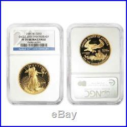 2006-W $50 American Gold Eagle 1oz. 20th Anniversary 3pc. Set NGC MS70 PF70 PF70