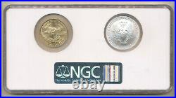2006 W GOLD + Silver Eagle $50 NGC MS70 20th Anniversary BLUE Label Burnished
