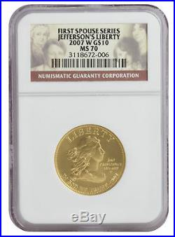 2007-W First Spouse Gold UNC Jefferson's Liberty MS70 NGC First Spouse Series