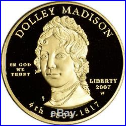 2007-W US First Spouse Gold 1/2 oz Proof $10 Dolley Madison NGC PF70