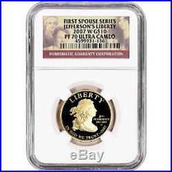 2007-W US First Spouse Gold 1/2 oz Proof $10 Thomas Jefferson's Liberty NGC PF