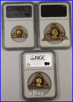 2008 Isle of Man Tutankhamun NGC PF-69 UC Gold Proof 3 Coin Set with Pyramid Box