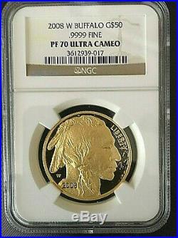 2008 W $50 1 Oz American Gold Buffalo Proof Ngc Pf-70 Uc (3612939-017)