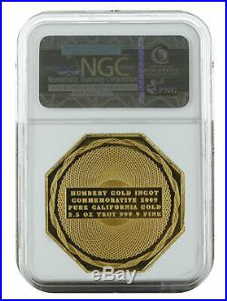 2009 2.5oz Humbert Commemorative Gold Ingot Gem Proof NGC California Gold