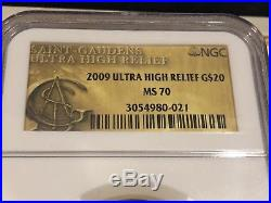 2009 Ultra High Relief $20 St Gaudens Double Eagle Coin Ngc Ms70 Perfect