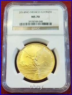 2014 Mexico LIBERTAD 1.0 oz. 999 Gold 1 Onza coin MS70