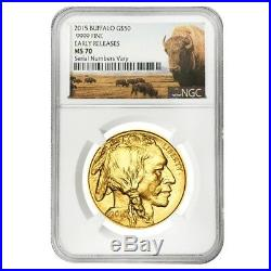 2015 1 oz $50 Gold American Buffalo NGC MS 70 Early Releases